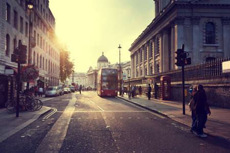london street: sunset near Trafalgar square, London, UK