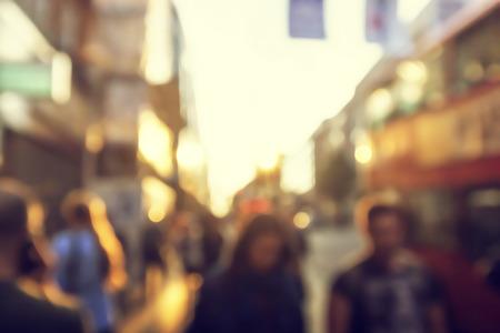 mensen in bokeh, straat van Londen