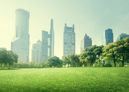 city landscape: park in  lujiazui financial centre, Shanghai, China Stock Photo
