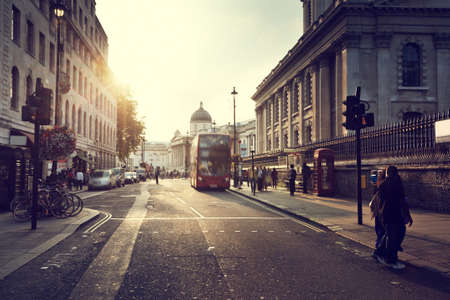 trafalgar: sunset near Trafalgar square, London, UK