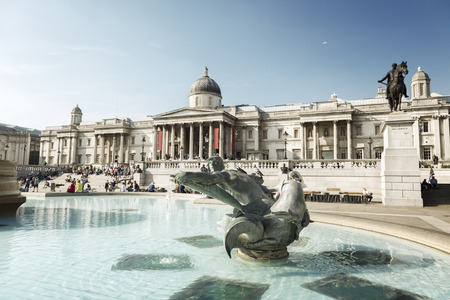 London, fountain on the Trafalgar Square Stock Photo