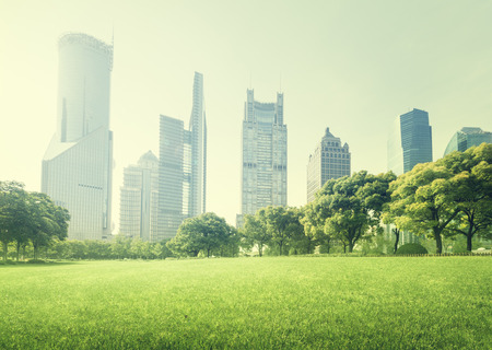 green park: park in  lujiazui financial centre, Shanghai, China Stock Photo