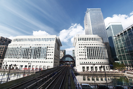 docklands: Canary Wharf docklands station in London, UK Stock Photo