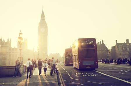 way of life: people on Westminster Bridge at sunset, London, UK