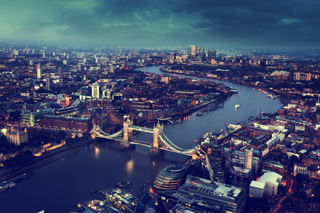 london street: London aerial view with Tower Bridge, UK