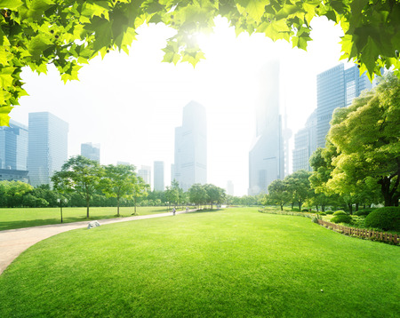 urban jungle: park in  lujiazui financial centre, Shanghai, China Stock Photo