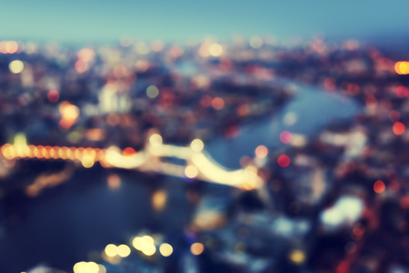 evening out: bokeh of London aerial view with Tower Bridge, UK