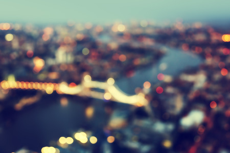 out of focus: bokeh of London aerial view with Tower Bridge, UK