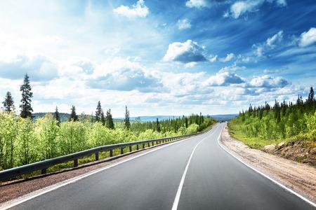carretera: camino en el bosque al norte Foto de archivo