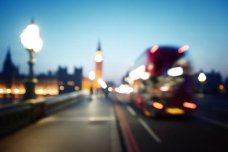 night traffic: bokeh of Big Ben and Westminster Bridge, London