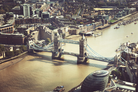typically english: London aerial view with Tower Bridge, UK