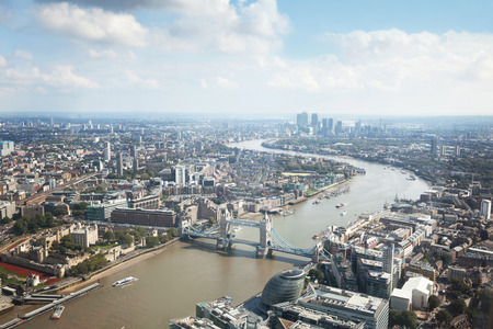 London aerial view with Tower Bridge Stok Fotoğraf