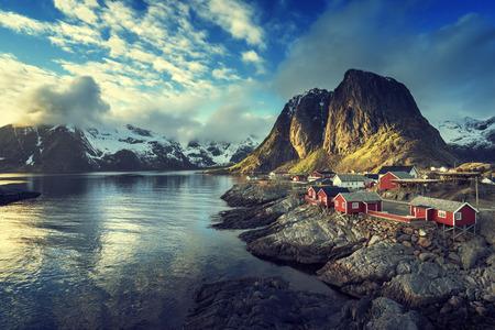 mountain hut: Fishing hut at spring sunset - Reine, Lofoten islands, Norway