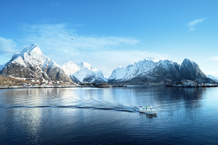 boat house: sunny day at Lofoten islands, Norway