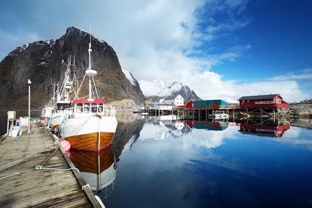 fishing huts: boats at Lofoten islands, Norway Stock Photo