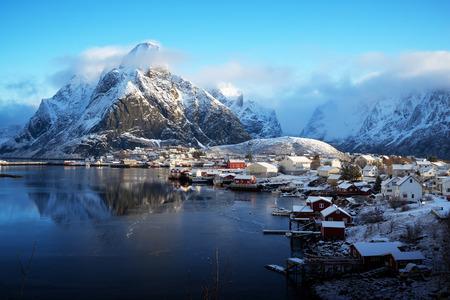 lofoten: snow in Reine Village, Lofoten Islands, Norway Stock Photo