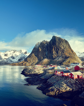 fishing huts: Fishing huts at spring day - Reine, Lofoten islands, Norway