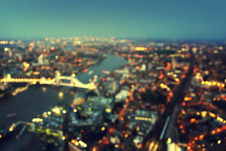 skyline at sunrise: bokeh of London aerial view with Tower Bridge, UK