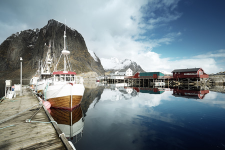 fishing huts: boats, Lofoten islands, Norway