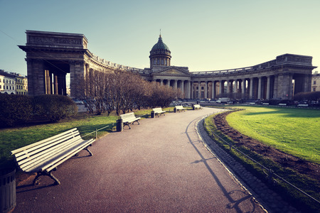 st  petersburg: Kazan Cathedral in sunset time, St. Petersburg, Russia
