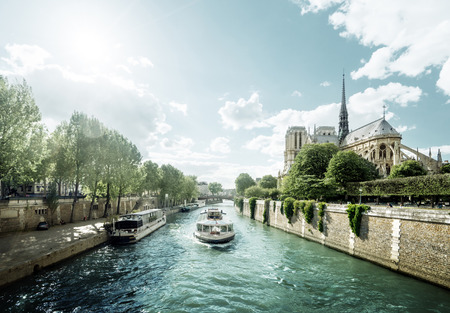 Seine and Notre Dame de Paris, Paris, France 写真素材