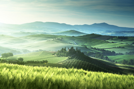 Early spring morning in Tuscany, Italy photo