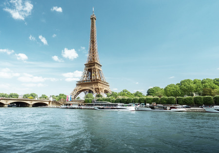 nature green: Seine in Paris with Eiffel tower in morning time