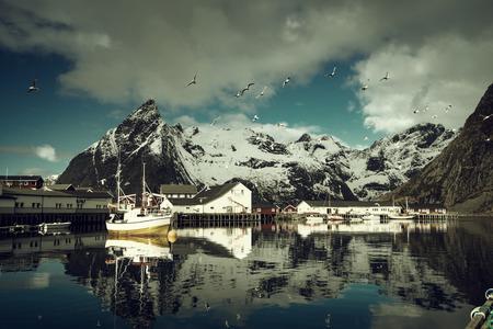 fishing huts: spring sunset - Reine, Lofoten islands, Norway