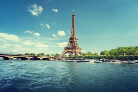 eiffel: Seine in Paris with Eiffel tower in morning time