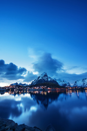 landscape nature: sunset  in Reine Village, Lofoten Islands, Norway