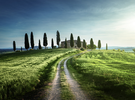 pienza: Classic Tuscan views in spring sunset time,  Pienza, Italy Stock Photo