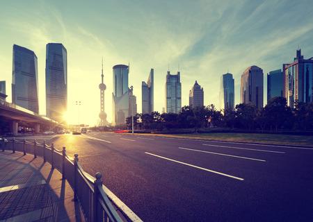 road in shanghai lujiazui financial center photo