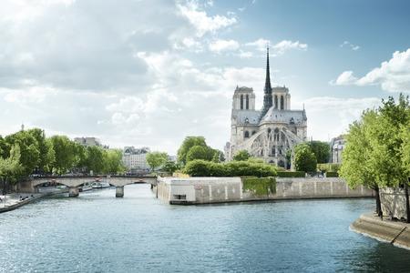 Seine en de Notre Dame de Paris, Parijs, Frankrijk Stockfoto