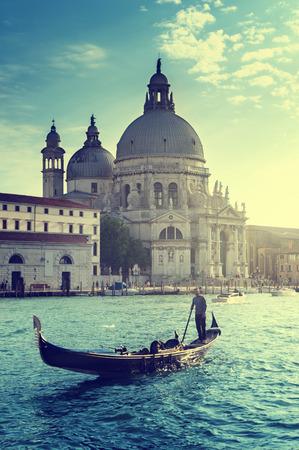 Gondola and Basilica Santa Maria della Salute, Venice, Italy 写真素材