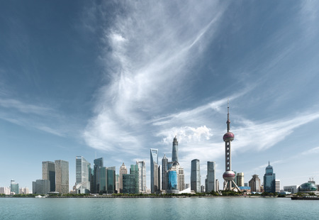 chinese: Shanghai skyline in sunny day, China