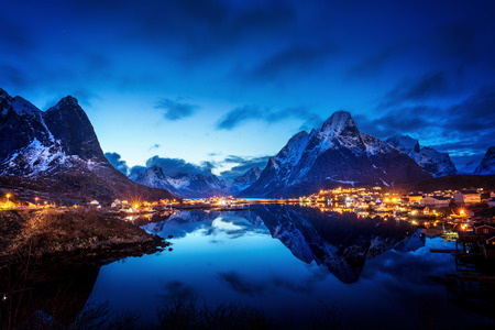 sunset  in Reine Village, Lofoten Islands, Norway Stock Photo - 41656789