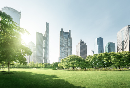 city park skyline: park in lujiazui financial center, Shanghai, China Stock Photo
