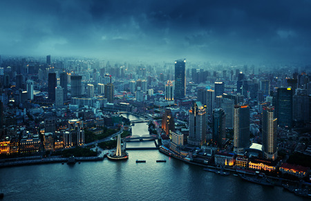 skyline of Shanghai at sunset, China Stock Photo