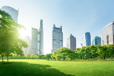 park in lujiazui financial center, Shanghai, China Standard-Bild