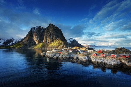 mountain hut: Fishing hut at spring sunset - Reine, Lofoten islands, Norway