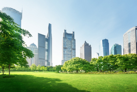 highrise: park in lujiazui financial center, Shanghai, China Stock Photo