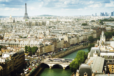 aerial view city: View on  Paris, France