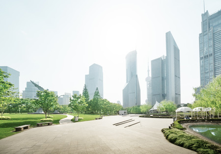 shanghai pudong skyline: park in lujiazui financial center, Shanghai, China Stock Photo