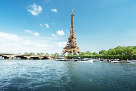 Eiffel Tower: Seine in Paris with Eiffel tower in morning time