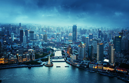 aerial: skyline of Shanghai at sunset, China Stock Photo