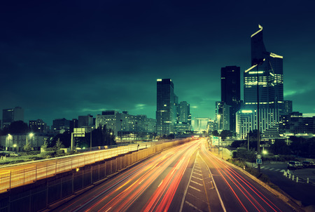 traffic building: Paris LaDefense in sunset time, France
