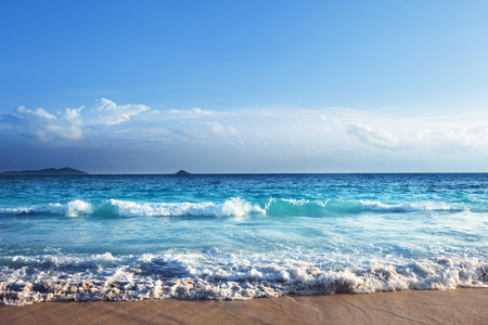 white sand: seychelles beach in sunset time Stock Photo