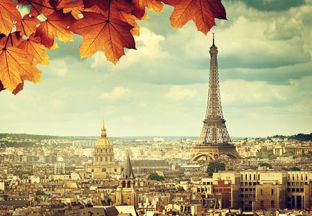 herfstbladeren in Parijs en de Eiffeltoren Stockfoto