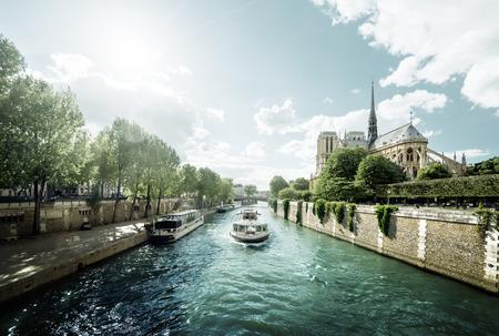 river: Seine and Notre Dame de Paris, Paris, France Stock Photo