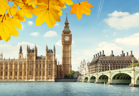 london big ben: autumn leaves and Big Ben, London